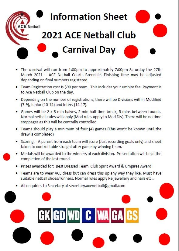 ACE  Club  Carnival 2021  Information  Sheet